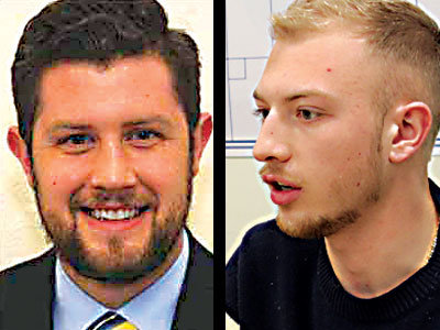 Middletown Mayor James H. Curry III (left). Penn State Harrisburg Student Government Association President Riley Cagle