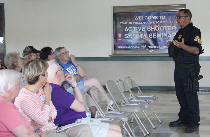 Derry Township police Sgt. Anthony Clements led an active shooter seminar at the Lower Swatara Fire Hall on May 30.