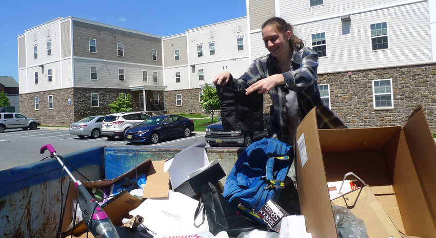 Most of the Penn State Harrisburg students had left campus by the time Chloe Buckwalter found this woman's corset while going through a Dumpster in Campus Heights on May 15.
