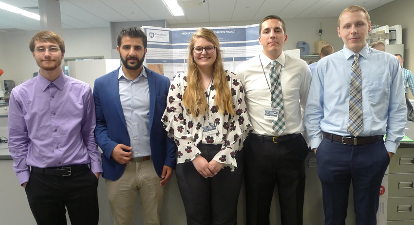 These Penn State Harrisburg civil engineering students presented their research on the Middletown flood mitigation project in May. A new group of students — led by master's degree candidate Jacob Hoffman, far left — will continue the research. To Hoffman's right are Amin Amin, Larissa Ogora, Chad Matthews and Brady Myer.