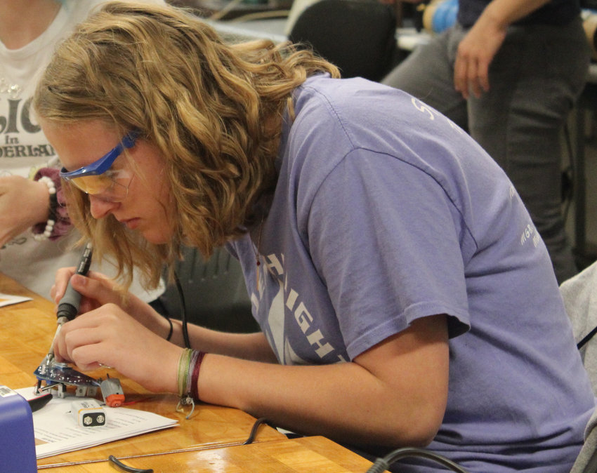 Middletown Area High School student Hailey Hockenberry works during the electrical engineering lab during Penn State Harrisburg's STEM Summer Enrichment Program on June 19.
