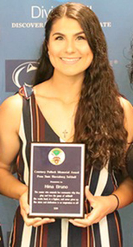 Nina Bruno, a senior at Penn State Harrisburg, is the inaugural winner of the Courtney Pollock Award, which honors a  Lower Dauphin High School graduate who played softball at the school.