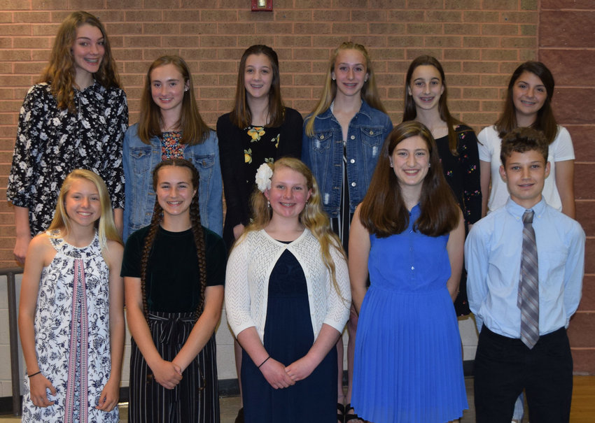 In the front row are Lower Dauphin eighth-grade students Kristen Economopoulos, Audrey Meyers, Makayla Shutt, Lauren Wahlers and Toby Waters. In the back row are Shannon Angerer, Abby Auringer, Cameron Barber, Kelly Bastian, Jaiden Dissinger and Katelyn Economopoulos. Not pictured are Riley Fisher and Joseph Goduto.