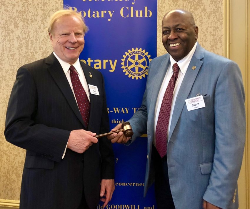 The Hershey Rotary Club met at the Hershey Lodge on July 1 for its weekly meeting. President Clem Gilpin, right, a Middletown resident, handed over the gavel to President-Elect Paul Thompson, who will preside over the club for 2019-20.