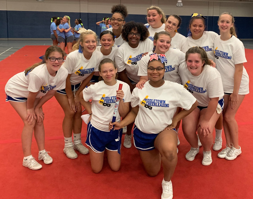 Middletown Area High School cheerleaders recently took part in a National Cheerleaders Association camp at Shippensburg University.