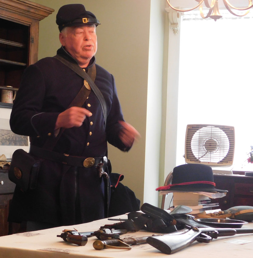 "Bill Leonard of Lower Swatara Township discussed ""Civil War Clothing, Weapons and Reenactment"" during an open house June 1 for the Highspire Historical Society at The Wilson House, 273 2nd St., Highspire."