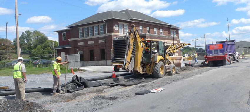 Work continues in this Aug. 29 photo of the repaving and rebuilding of Airport Drive on Harrisburg International Airport.