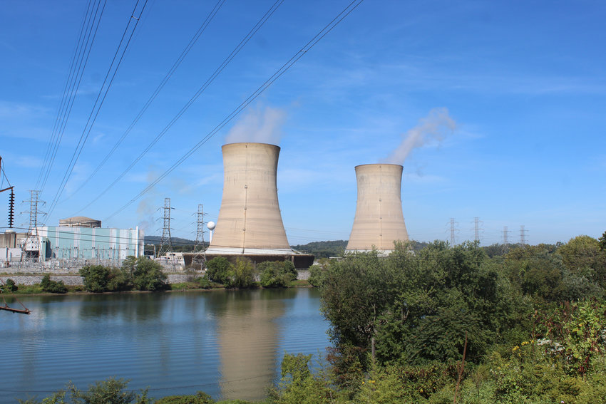 Steam was still rising from Three Mile Island Unit 1 just before noon on Friday.