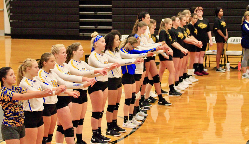 The Middletown volleyball team gets ready to take on Central Dauphin East on Sept. 17.