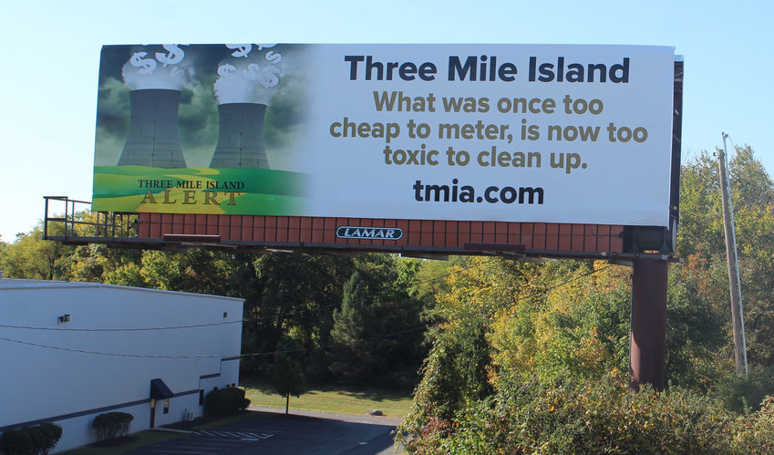 Three Mile Island Alert installed this billboard along the Airport Connector Road on Monday.