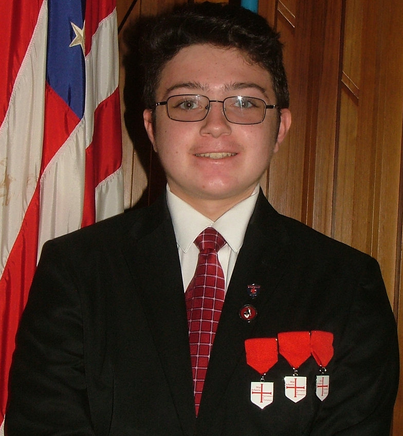 Elizabethtown DeMolay Mason Barrick wears the three first-place ribbons he won at the recent Mid Atlantic Tournament of Champions Ritual Competition that was held in Gettysburg.