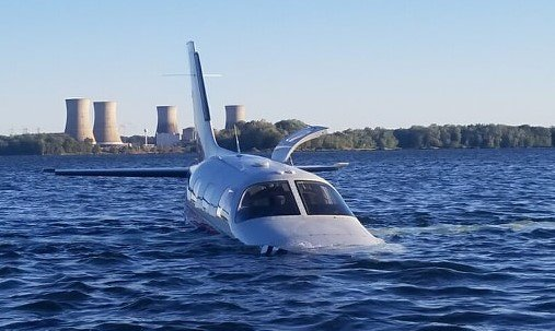 A small two-seater airplane crash-landed in the Susquehanna River near Middletown late Friday afternoon.