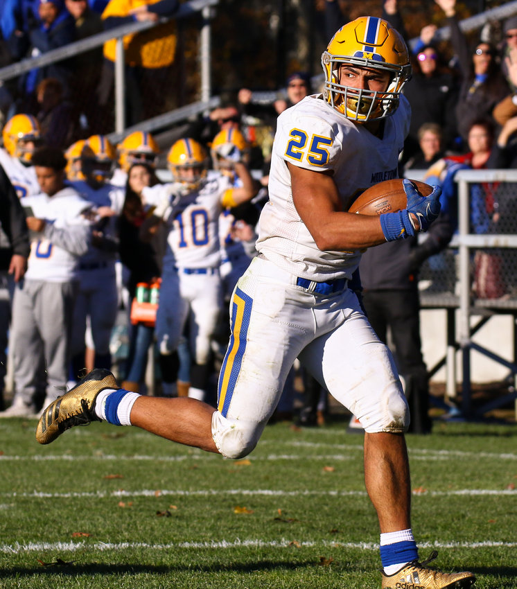 Middletown running back Jose Lopez breaks downfield in Saturday's PIAA District 3 3A title game, a 24-21 loss at Wyomissing.