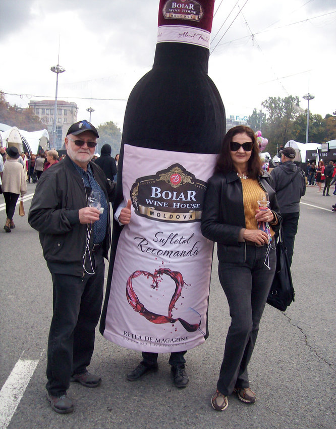 Ed O'Connor and his wife, Olga, enjoy the annual Moldovan National Wine Festival.