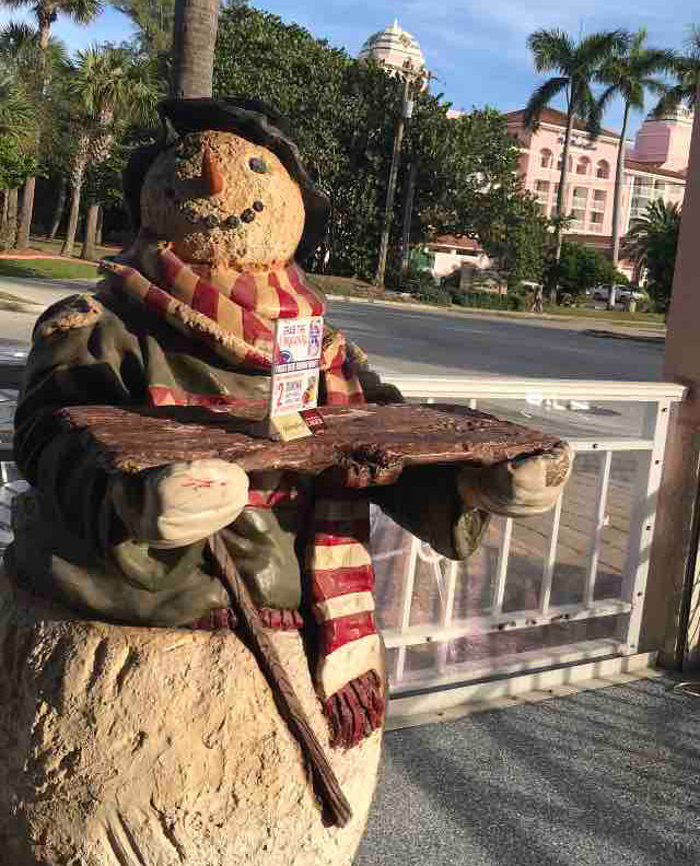 "Beach restaurant Johnny Longboat's on Singer Island welcomes December with a friendly ""snowman."""