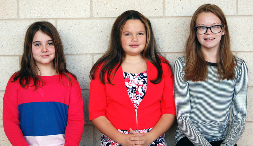"Zoe Handwerk (grade 6), Kylie Hickoff (grade 7) and Taylor Witmyer (grade 8) were selected as the 2019 Middletown Area Middle School Veterans Day essay winners. This year's theme was ""What Makes America Great?"" Each winner was awarded $50 in prize money."