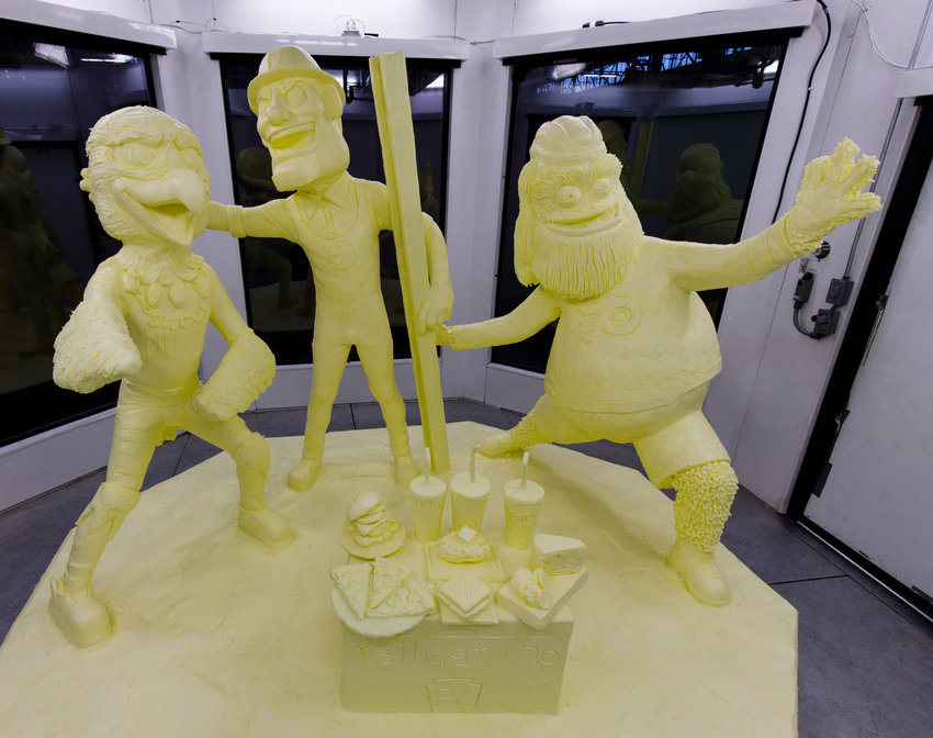 Swoop of the Phladelphia Eagles, Steely McBeam of the Pittsburgh Steelers and Gritty of the Philadelphia Flyers have come together for the 30th annual butter sculpture at the Pennsylvania Farm Show, which starts Saturday.