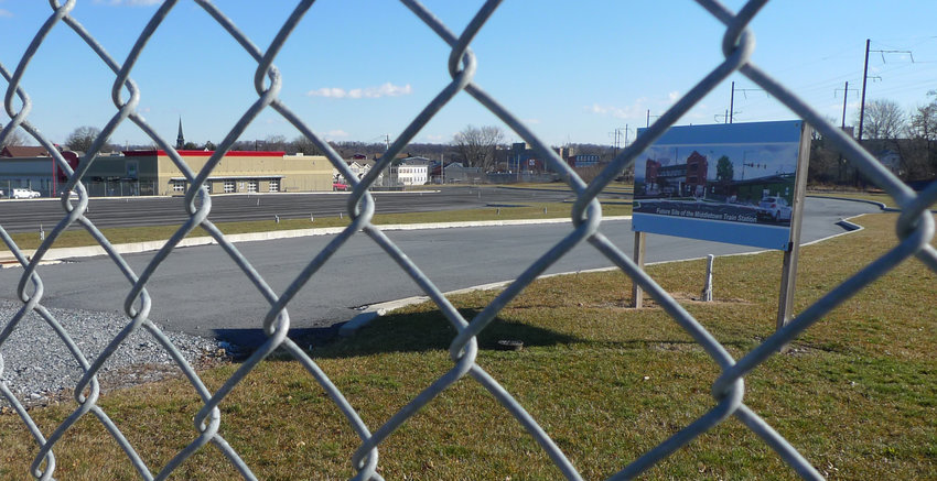 The location of the new Amtrak train station along West Main Street in Middletown has been fenced off, in preparation for PennDOT to award a contract for construction of the station in March.