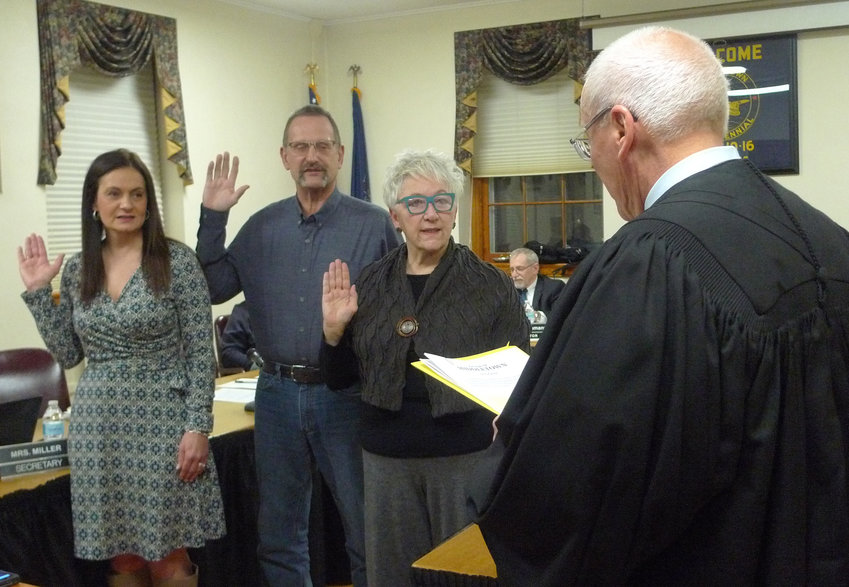 District Judge David Judy swears in to new four-year terms for Middletown Borough Council members Angela Lloyd, Richard Kluskiewicz, and Ellen Willenbecher. Newly elected Councilor Scott Sites was not present at Monday's meeting but participated and voted by phone hookup.