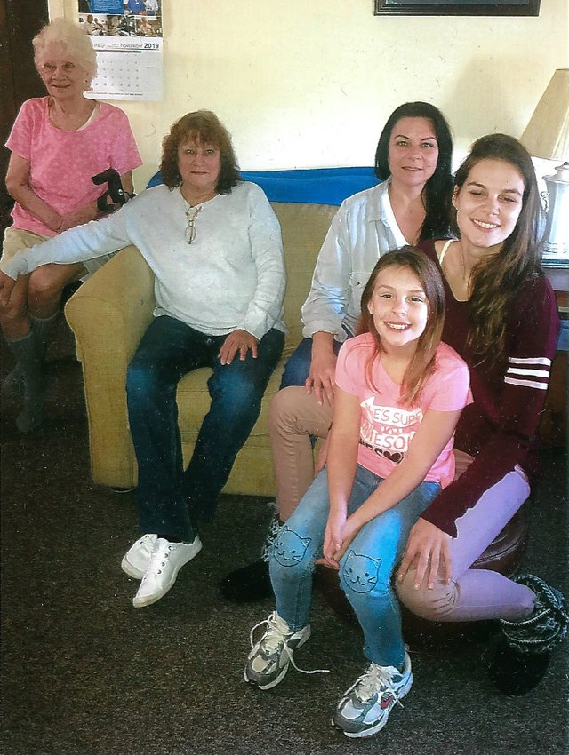 Five generations of an area family recently gathered together. From left are Freda Hickman of Middletown, Lyn Cain of Middletown, Crystal Sacca of Steelton, Courtnie Cole of Middletown, and Paytin Cole of Middletown.