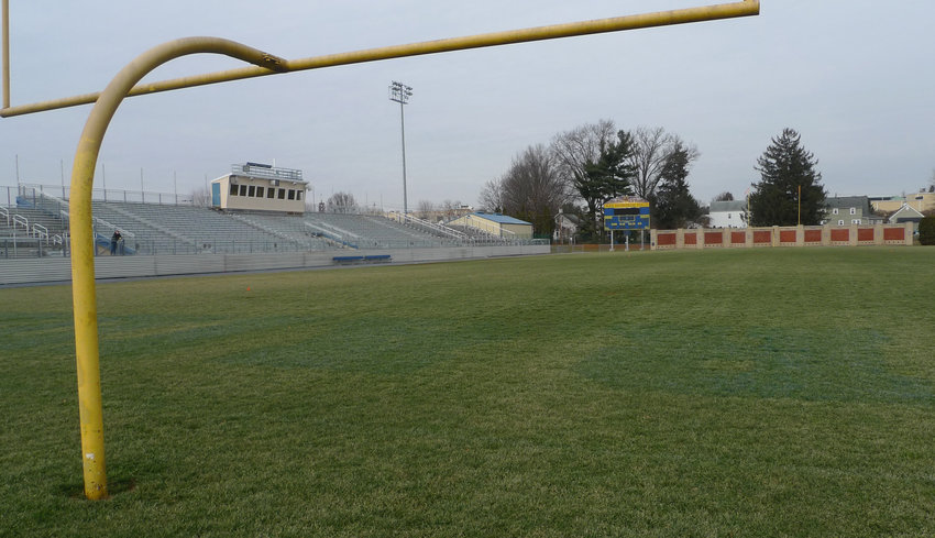 The grass turf on War Memorial Field is to be replaced as part of a restoration that was approved with the awarding of contracts by Middletown Area School Board on Jan. 21.
