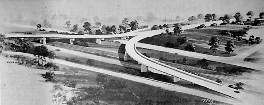 Above is an artist's conception of the Airport Connector road interchange at Harrisburg International Airport. Work has begun on the 2.4 mile road that by 1977 will connect Route 283 with Harrisburg International Airport. The four-lane limited access expressway will run from the present Route 283 interchange with Route 441 east of Highspire, passing under Spring Garden Drive, over Stoner Drive and then curve south to pass over the Pennsylvania Turnpike. The highway will then go under Rosedale Avenue and connect with Route 230, finally bridging the Penn Central Railroad's main line to terminate at the airport. Construction is being done by Hempt Brothers Inc., of Camp Hill. Engineering and design were done by PennDOT staff, with bridge design for the airport interchange by Yule Jordan and Associates, Camp Hill.