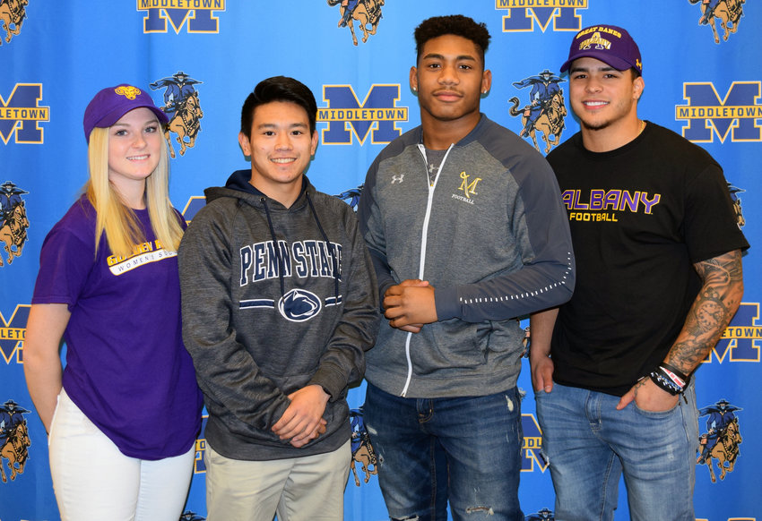 Middletown Area High School student-athletes Jordyn Dupes, Zachary Malay, Arthur Dash and Jose Lopez announced their college choices Feb. 5.