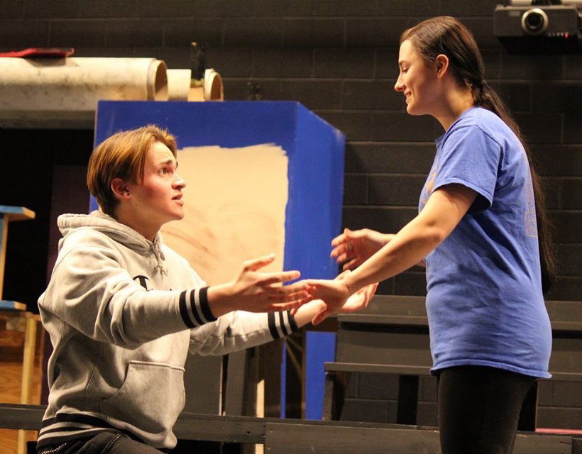 "Jordan Knaub as Dennis and Gillian Bias as Natalie rehearse for ""All Shook Up,"" a musical comedy built around a number of songs made famous by Elvis Presley. It is the Middletown Area High School spring musical being performed in March."
