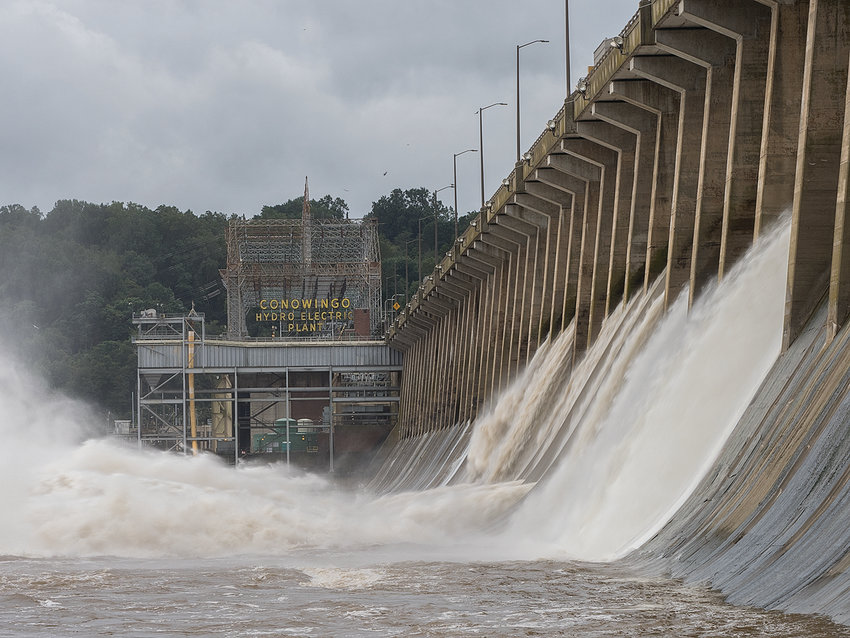 A sidelong view of the 94-foot hydroelectric Conowingo Dam on the Susquehanna River, for which Exelon is seeking a 50-year renewal of its operating license.