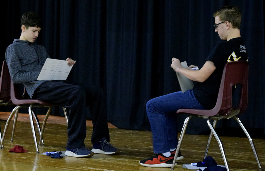 Eventual school champion Peter Otto, left, faces off against runner-up Adrian Olweiler in the Lower Dauphin Middle School geography bee championship rounds.