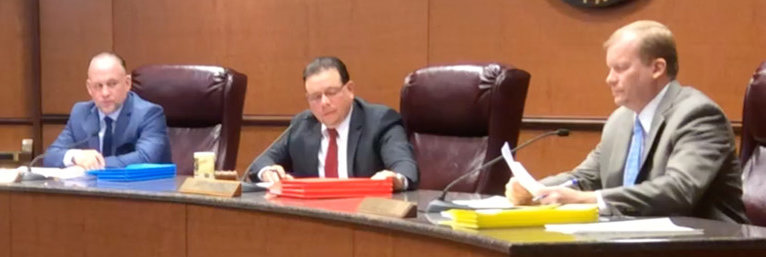 Dauphin County Commissioners George Hartwick III, Jeff Haste and Mike Pries are seen in this 2017 file photo.