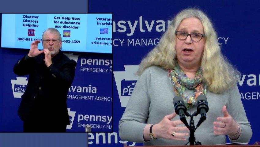 Pennsylvania Department of Health Secretary Rachel Levine discusses the coronavirus pandemic on Tuesday, April 28.