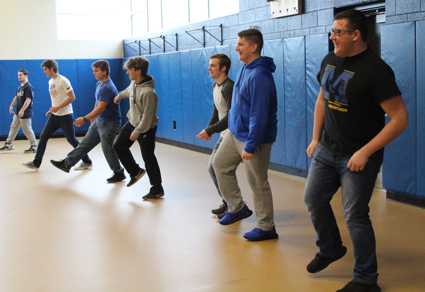 Mr. Middletown hopefuls work on their dance routines in March, prior to schools being closed because of the coronavirus pandemic.