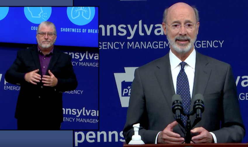 Gov. Tom Wolf discusses counties moving into the yellow phase during a news conference on Friday, May 22.