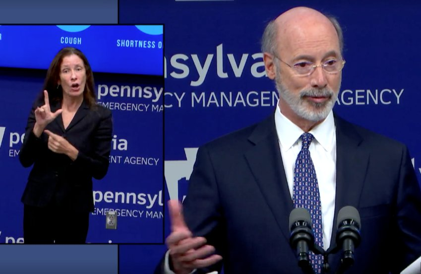 Gov. Tom Wolf answers a question from a reporter Friday. For the first time in weeks, reporters were allowed to ask questions in person about the coronavirus as Dauphin County moved into the yellow phase.