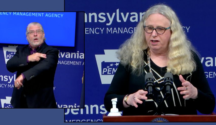 Department of Health Secretary Rachel Levine answers a question about the coronavirus in long-term-care facilities on Monday.