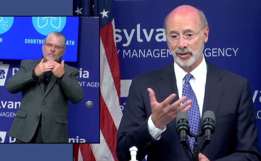 Gov. Tom Wolf answers a question from a reporter Friday about the coronavirus pandemic.