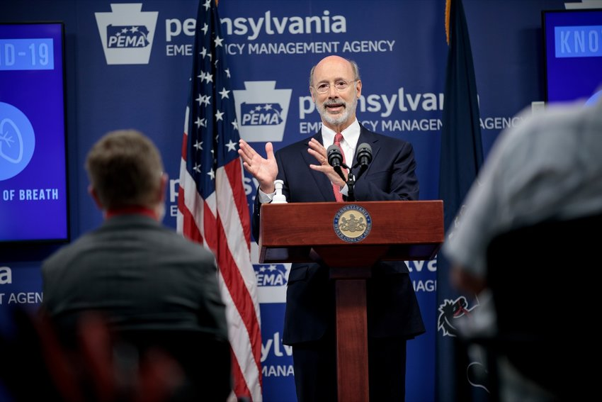 Gov. Tom Wolf speaks during a press conference addressing the coronavirus in Pennsylvania, inside PEMA headquarters on Wednesday, June 10, 2020.