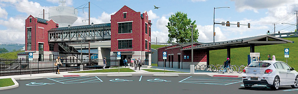 This artist's rendering shows what the new Amtrak station and pedestrian walkway across West Main Street might look like when it is completed.
