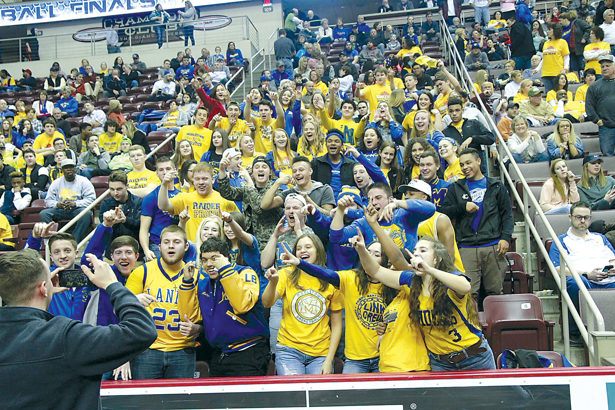 Middletown Blue Raiders fan cheer on the boys basketball team vs. Lancaster Catholic last week at the Giant Center.