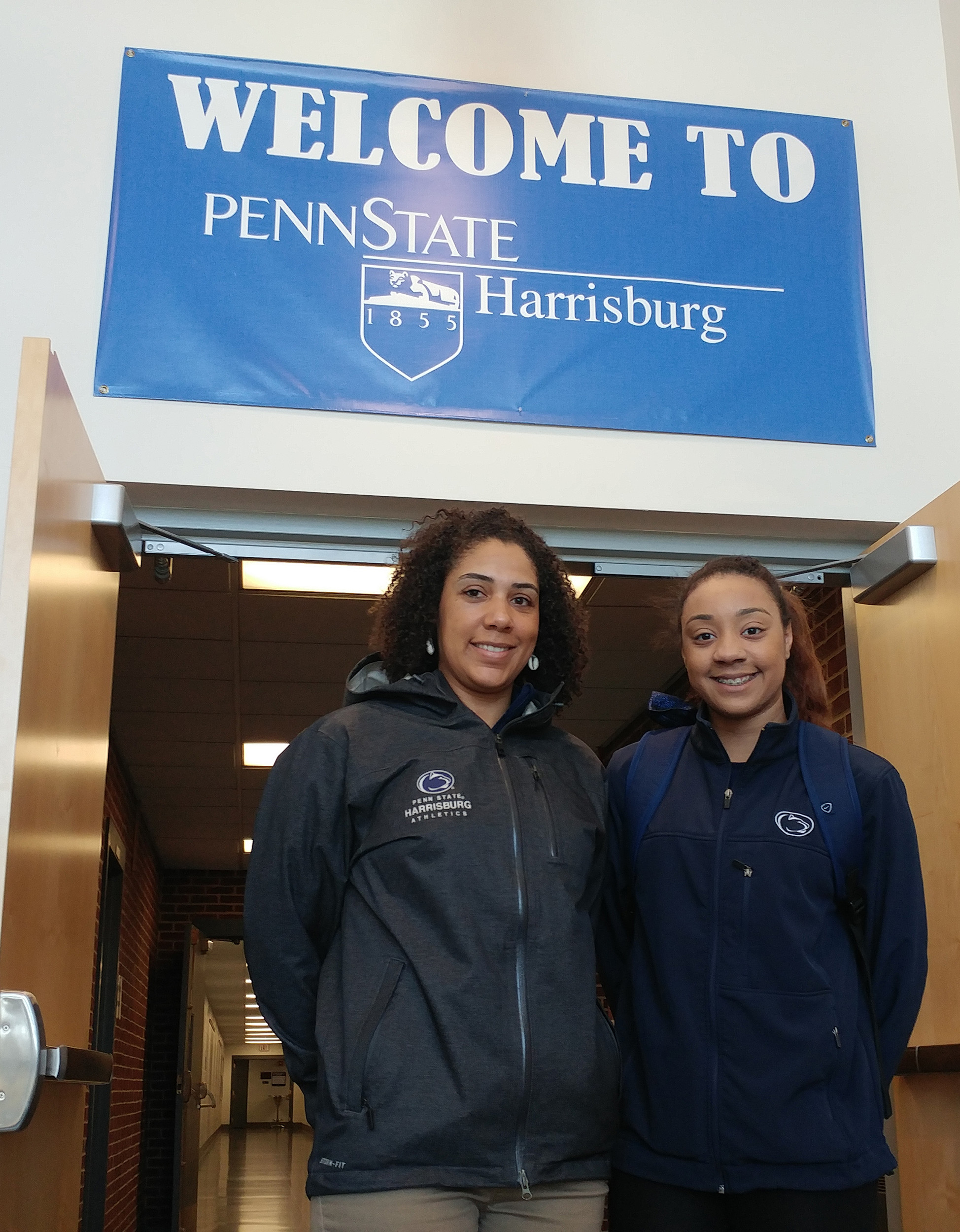 Coach Danielle Lynch and Ashley Williams get ready to head to Illinois on Wednesday morning.