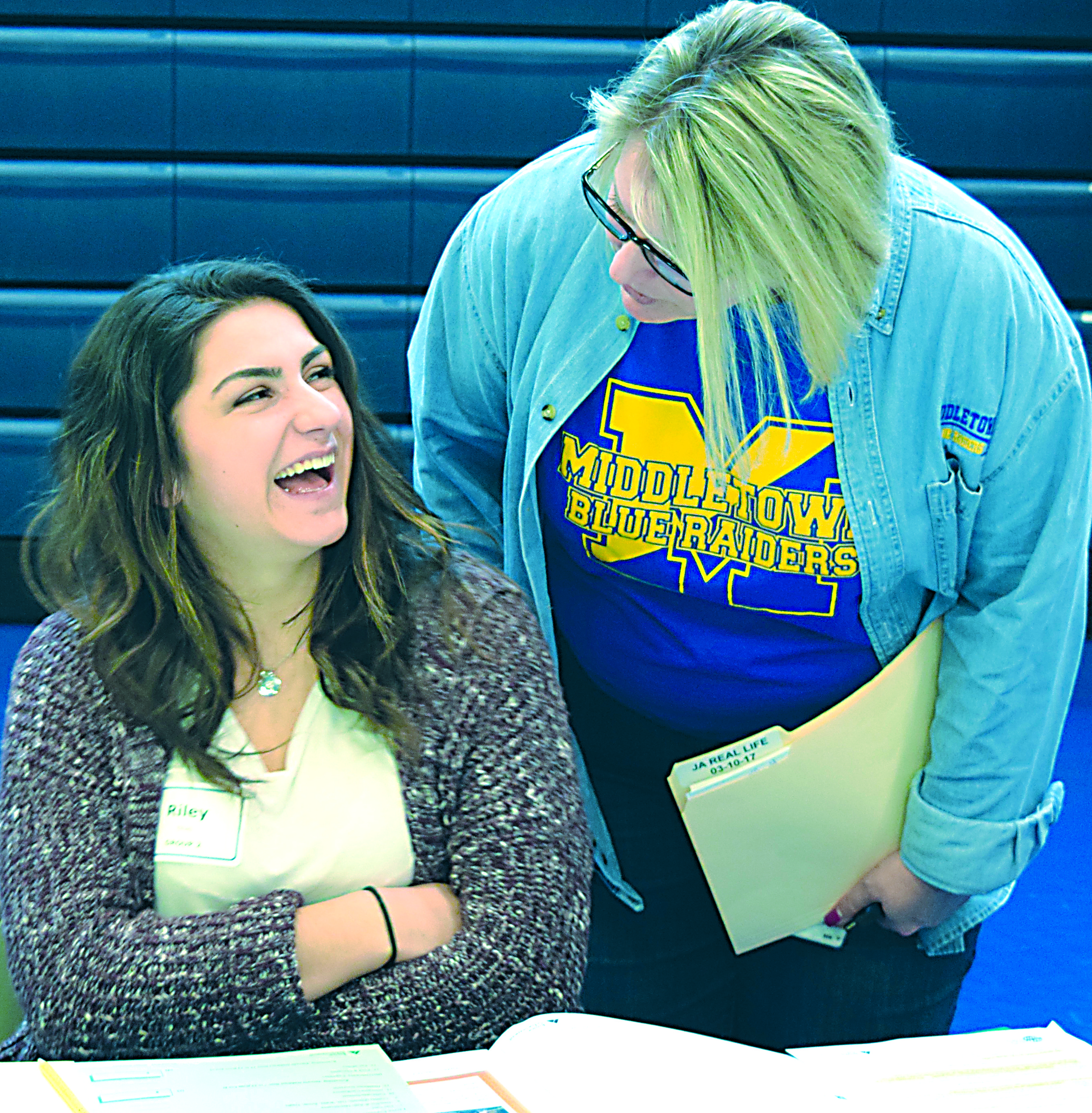 Riley Elhajj talks to Michele Myers, career coordinator at Middletown Area High School.
