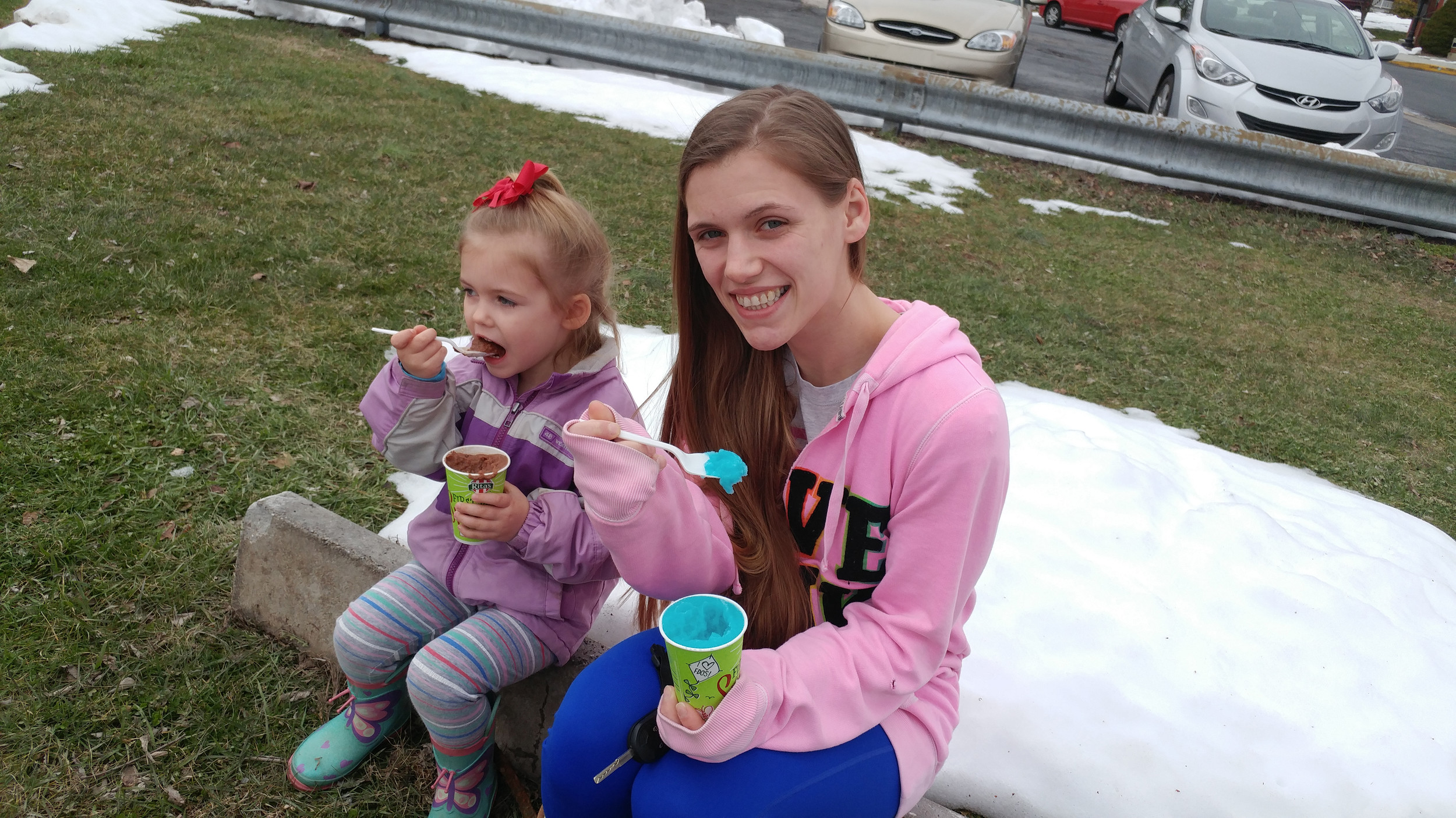 Autumn Kiehl and her daughter Kaylee took advantage of Rita's first day of spring giveaway Monday afternoon.
