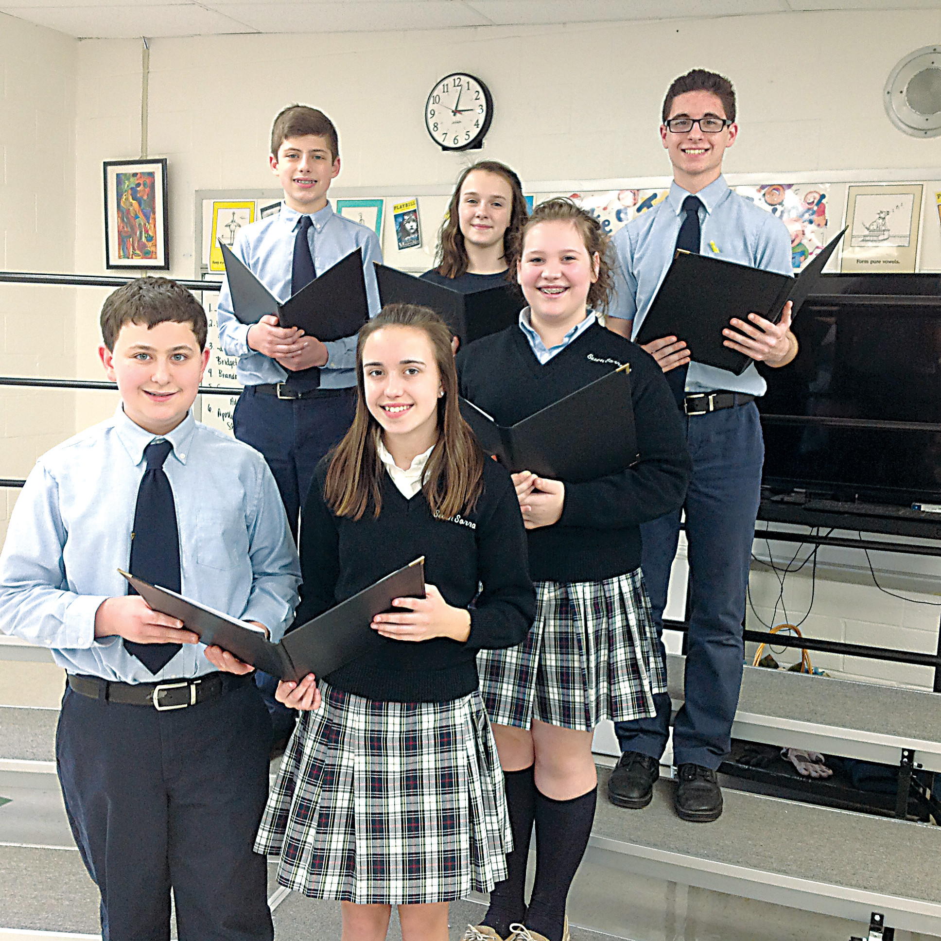 The following Seven Sorrows BVM students were chosen to participate in the Dauphin County School Chorus Festival on Saturday, March 25, at The Forum, Harrisburg. Front row, left to right, Michael Astfalk and Jessica Barb. Second row, Francesco Cangialosi, Chloe Cleland, Alaina Zeager and Ricky Stains.
