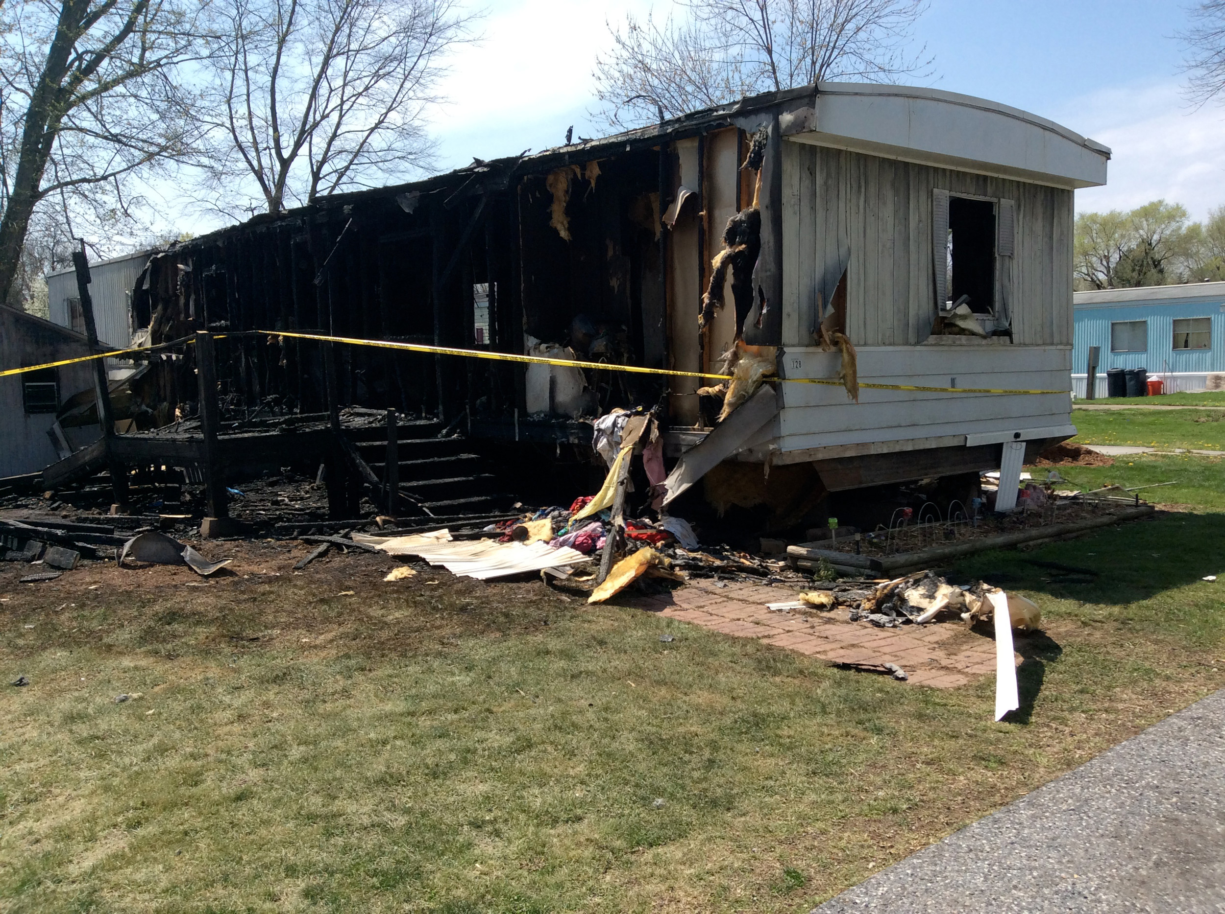 Fire damaged this mobile home in Harborton Place in Middletown on Wednesday night, April 12. The home was vacant at the time of the fire, said borough Assistant Fire Chief Kenny Whitebread.