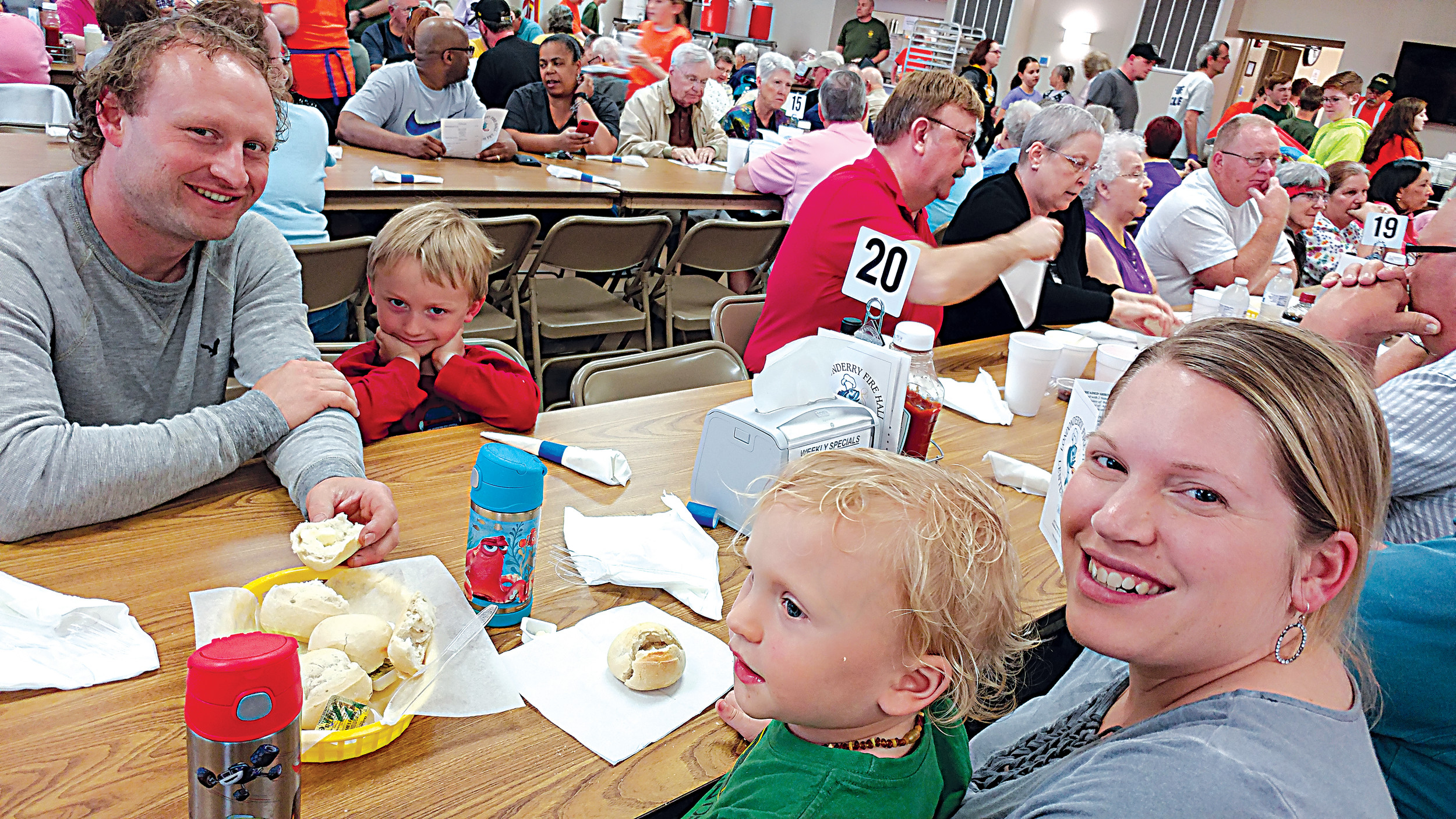 The Diem family, consisting of Randy, Brantley, 4, Rachel, and Kiptyn, 2 were out sampling the various seafood dishes at the fish fry.