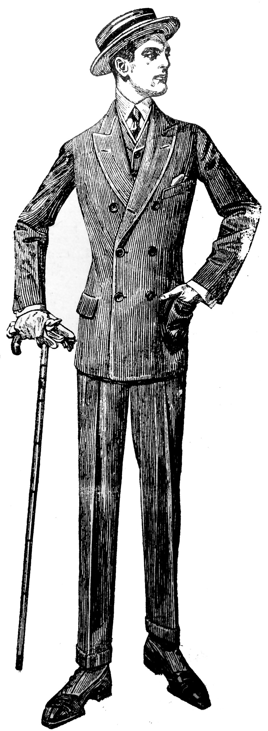 "Editor's note from Jason Maddux, 2017: Very few images appeared in newspapers from this era. There were almost all in advertisements. This images was for Kuppenheimer Clothes, sold by Doutrich, ""Middletown's leading clothier."" Suits ranged from $15 to $25. As was the custom, most ads did not include an address for the business. Telephone numbers, if businesses had them in 1913, also were rarely included."