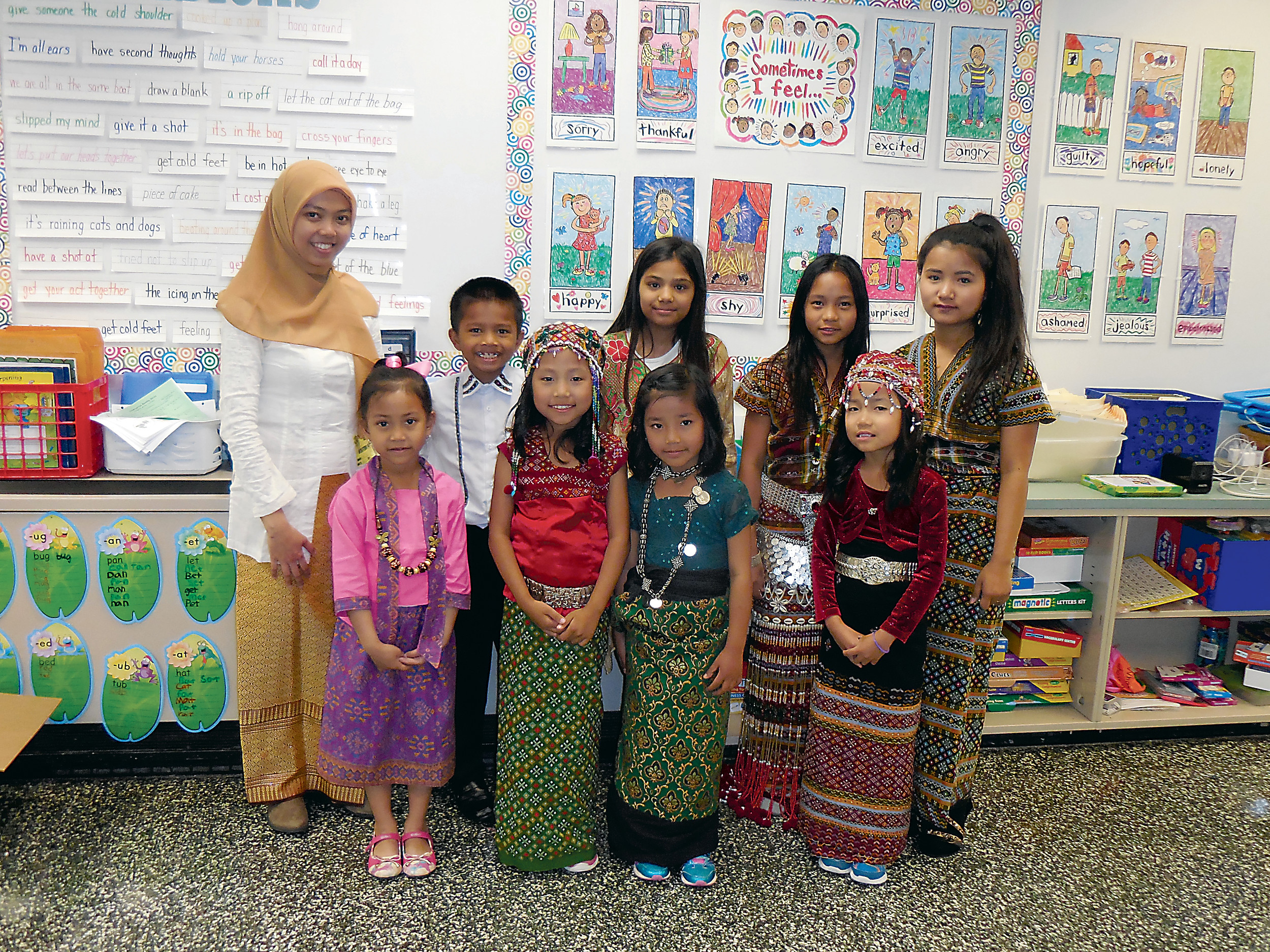 Cultural Day at Fink provided students the opportunity to learn about various countries. In the back row left to right is Indonesia presenter Ayu Inayati Shoim, David Tling, Aman Azim, Bawi Ian, and Sang Pui. In the front left to right are Mafaza Nugroho, Christina Eng, Enita Hniang, and Elisa Hoi Par.