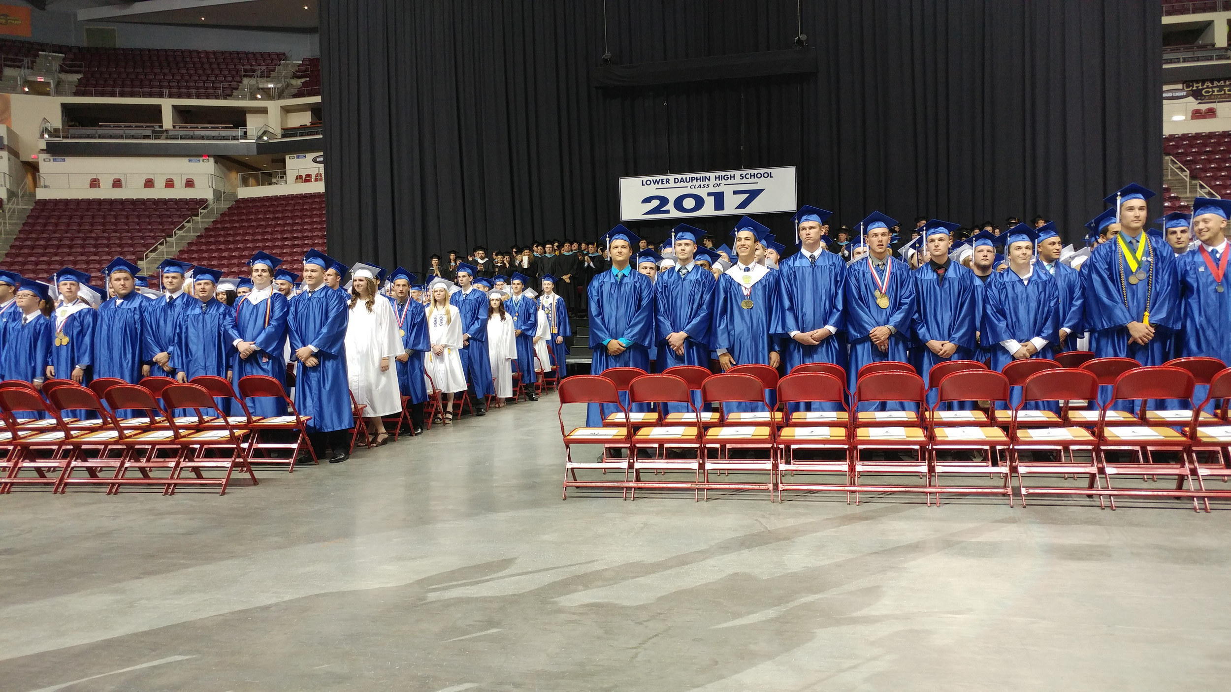 The Lower Dauphin Class of 2017 faces the audience before taking their seats in the Giant Center.
