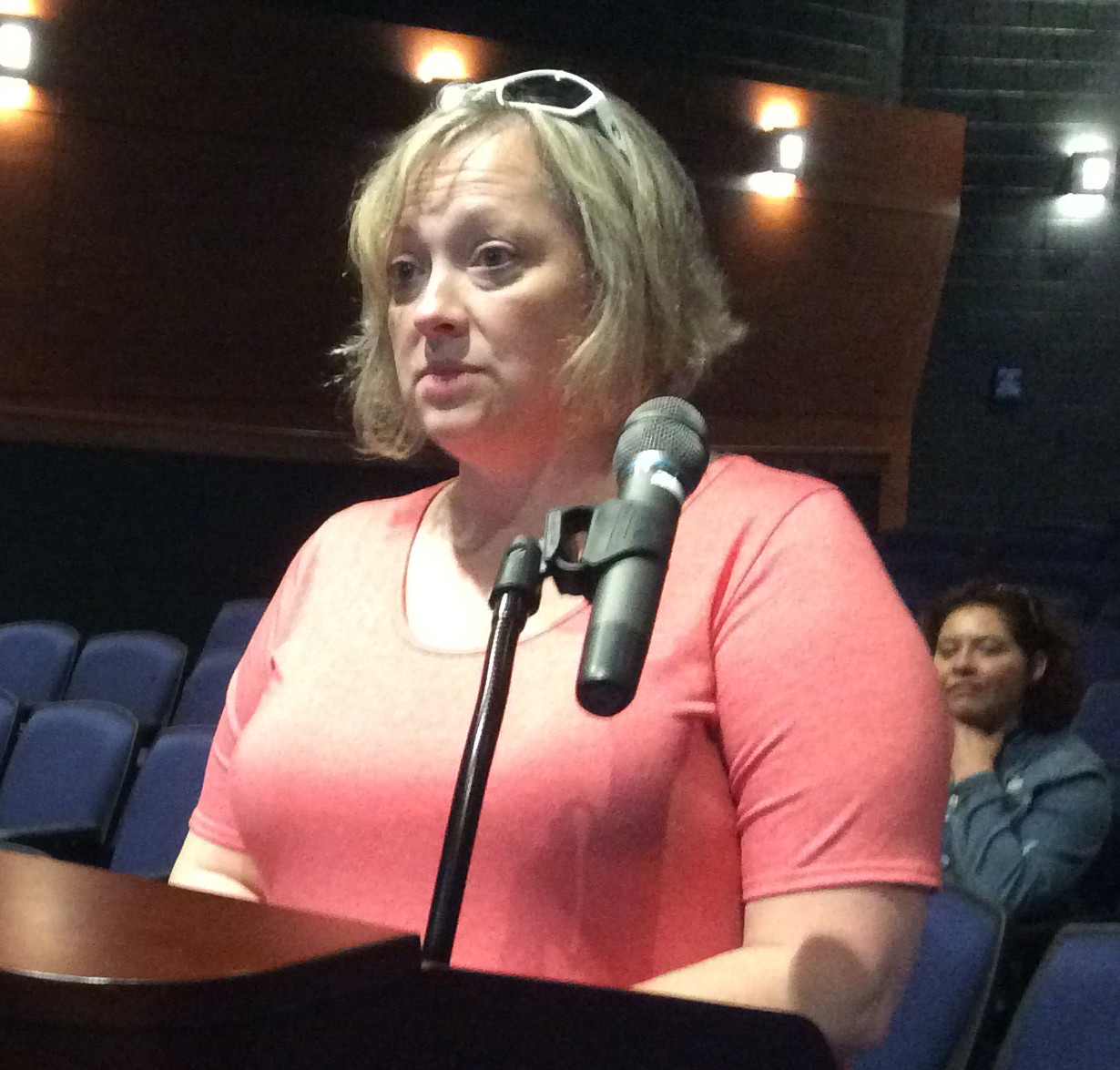 Renee Buck addresses Middletown Area School Board during the board's meeting on June 13.